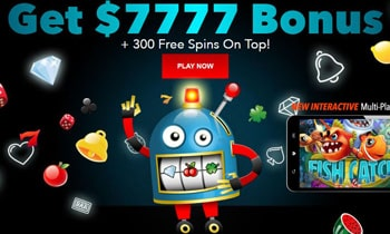 Slots Welcome Bonus Package up to $7,777 + 300 Free Spins